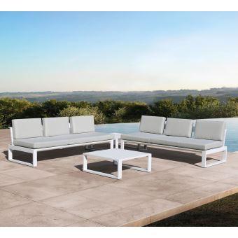 Salon détente en alu blanc athéna, 6 places - Mobilier de Jardin ...