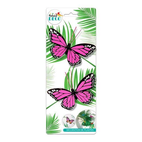 Déco Plantes – Lot de 2 Papillons Rose CD3854