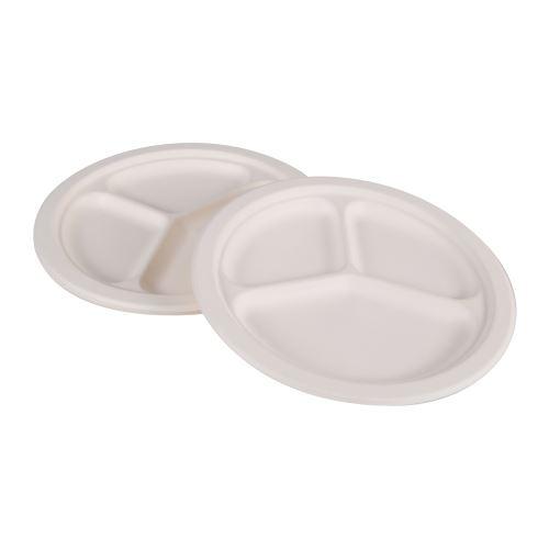 assiette d230cmx20.6mm compartimentee-14gr-en canne sucre lot de 6pcs