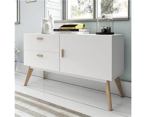 Buffet blanc mat et en bois contemporain SHINY - Blanc - L 120 x P 40 x H 70 cm