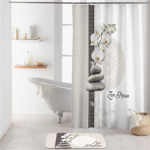 rideau de douche avec crochets 180 x 200 cm polyester Orchizen