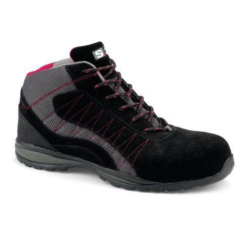 Chaussure haute LEVANT S1P - S 24 BOSSI INDUSTRIE - Cuir croûte velours noir/toile grise - Taille 37 - 5222-37