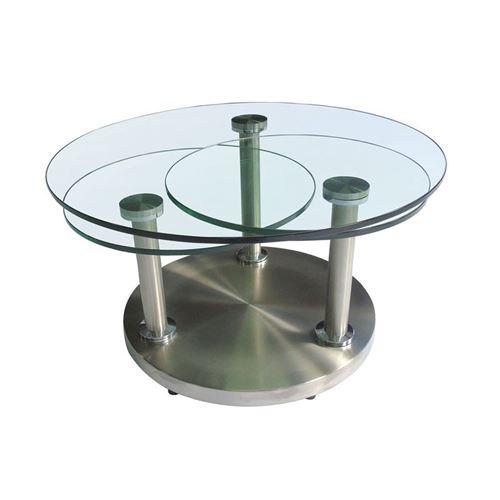 Table basse articulée verre et métal - TRYGO