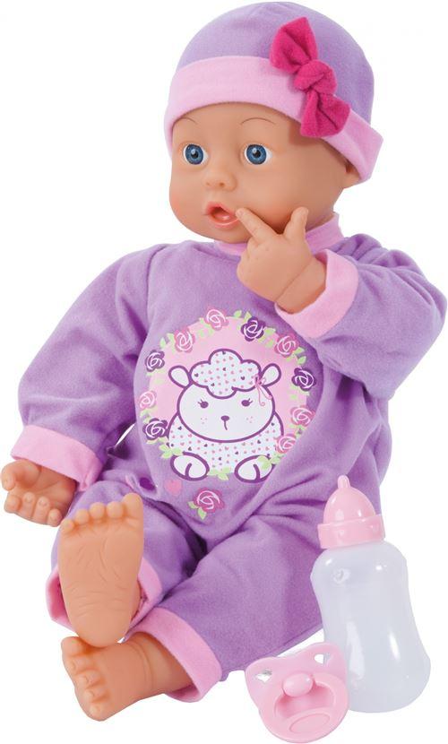 Bayer poupée bébé avec accessoires First Words 46 cm violet trois pièces