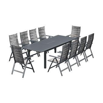 Berana 10 : Table De Jardin Extensible 10 Personnes + 10 Chaises En ...