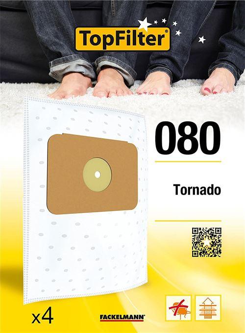 TopFilter 80, 4 sacs aspirateur pour Tornado, boîte de sacs d'aspiration en non-tissé, 4 sacs à poussière (30 x 26 x 0,1 cm)
