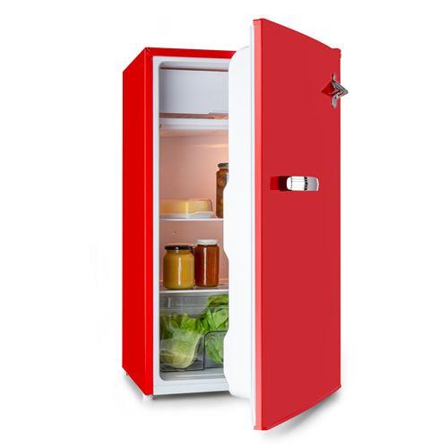 Beercracker - Réfrigérateur 90 litres , compartiment freezer , 39 dB , classe F - Rouge