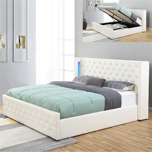 Lit coffre design avec led OSMOS - Blanc - 180x200