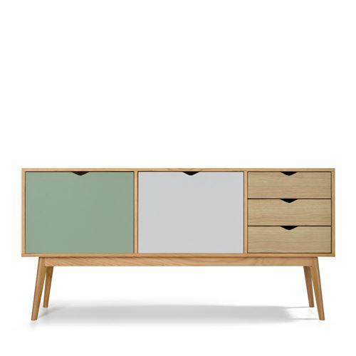 Buffet design 2 portes 3 tiroirs chêne Ström - Couleur - Gris souris/Blanc craie