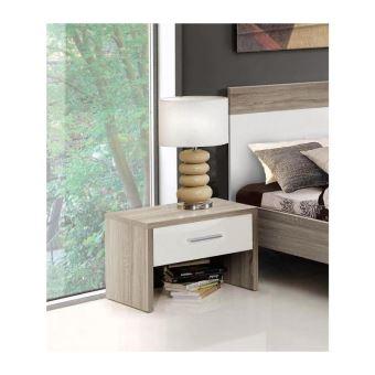 HELEN Chevet contemporain en bois aggloméré chene sonoma gris et blanc  brillant - L 46,3 cm