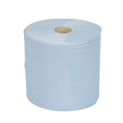 Maxi bobine d'essuie-mains bleu 2 plis jantex lot de 2