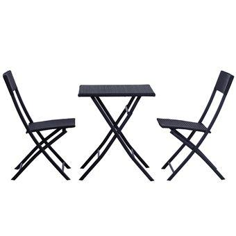 ensemble meubles de jardin design table carr et chaises pliables rsine tresse 4 fils mtal noir neuf 93 mobilier de jardin achat prix fnac - Chaises Pliables