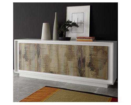 bahut blanc laqué mat et couleur bois KANSAS - Blanc - L 207 x P 50 x H 80 cm