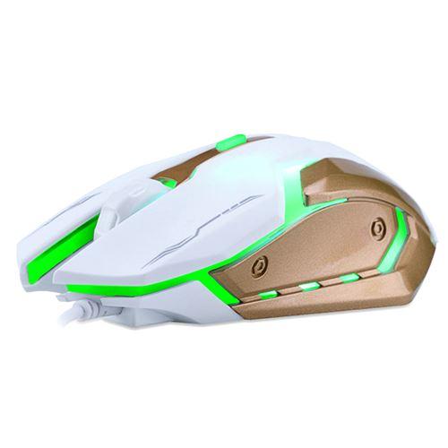 Nom du produit: T-Wolf V5 souris gaming BlancRétroéclairage à sept couleurs, Plancher en métal brossé, Molette anti-dérapanteType de liaison: FilaireLongueur de câble: 1.5 mètresRésolution (réglable): 2400/1600/1200/800 DpiNombre de boutons: 4Méthode de t
