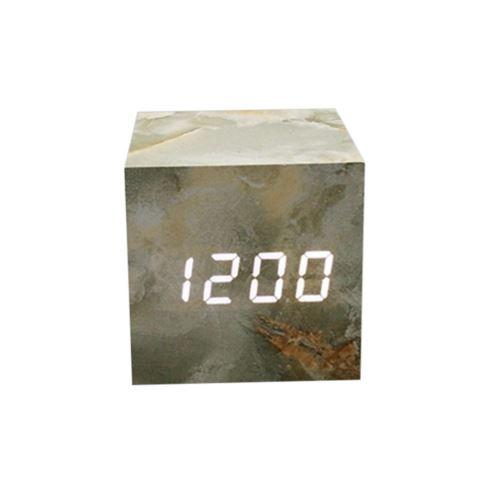 Commande Vocale Calendrier Thermomètre Numérique Led Alarme Horloge en Bois Usb / Aaa Vert PL568