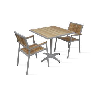Table de jardin carrée 2 places en bois et aluminium - Mobilier de ...