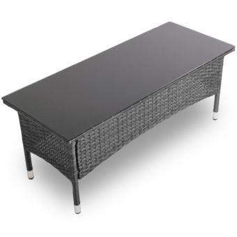 Table basse de jardin gris en résine tressée plateau de verre ...