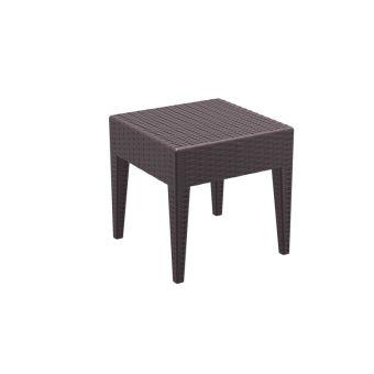 Table basse de jardin carré étanche en plastique marron 45x45x45 cm ...