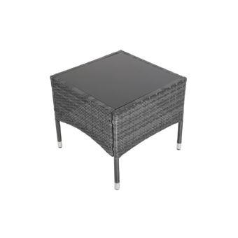 Table basse résine tressée gris meuble jardin MDJ01021 - Mobilier de ...