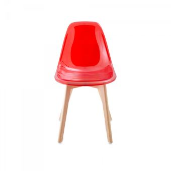 Chaise Transparente Scandinave Gasoline Avec Pieds En Bois DHtre Light Rouge Transparent