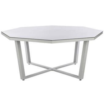 Table octogonale en Aluminium et verre trempé coloris galet - Dim ...