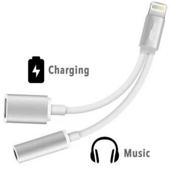 double adaptateur prise jack lightning pour iphone 7 audio cable 2 en 1 chargeur apple. Black Bedroom Furniture Sets. Home Design Ideas