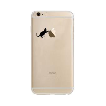 Coque Silicone IPHONE 6/6S Chat Fun Cat Noir Joue Pomme Transparente Protection Gel Souple