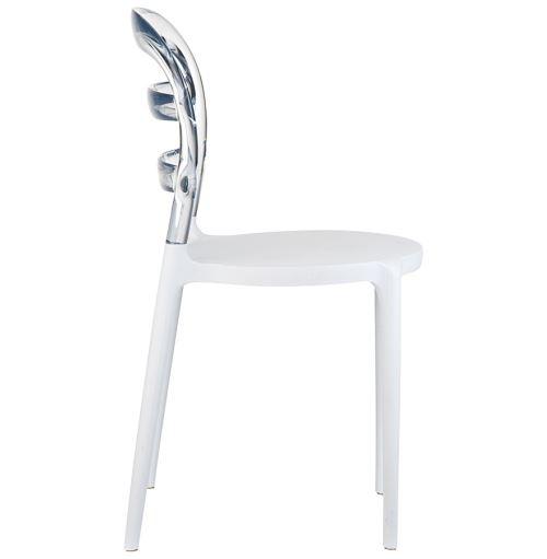 Chaise design 'BARO' blanche et transparente en matière plastique
