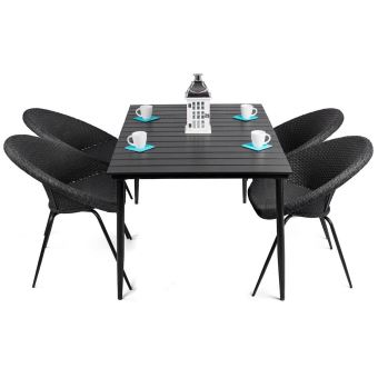 LEON - salon de jardin table + 4 chaises rondes en rattan ...