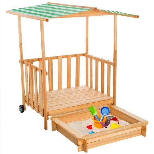 Bac  Sable Enfant Maison Bois Avec Vranda  Toit Helloshop