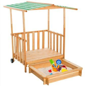 bac sable enfant maison bois avec v randa toit. Black Bedroom Furniture Sets. Home Design Ideas