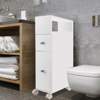 Meuble rangement WC sur roulettes 2 tiroirs blanc