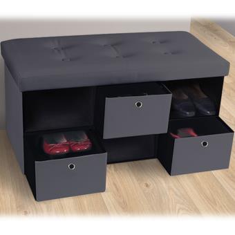 Banc coffre 3 tiroirs gris 76x38x38 cm PVC pliable ...