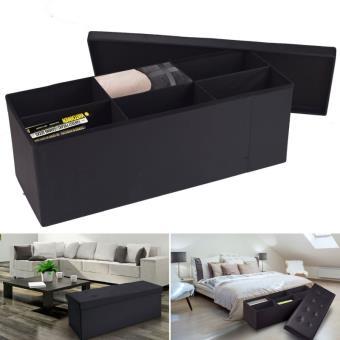 Banc Coffre 6 Compartiments Noir 100x38x38cm Pvc Accessoires