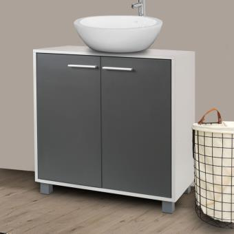 Meuble sous lavabo gris pour vasque de salle de bain - Meuble vasque salle de bain brico depot ...