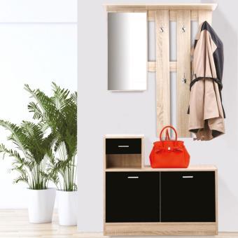 50 sur meuble vestiaire dentre dcor htre portes noires avec miroir accessoires salles de bain et wc achat prix fnac