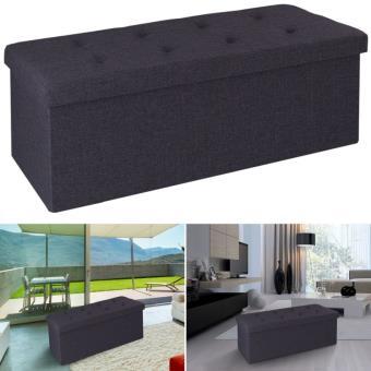 Banc coffre rangement tissu gris 100x38x38cm pliable - Accessoires ...
