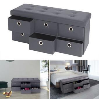 Banc coffre rangement gris 6 tiroirs 100X38X38 cm PVC