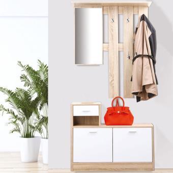 50 sur meuble vestiaire dentre dcor htre portes blanches avec miroir accessoires salles de bain et wc achat prix fnac