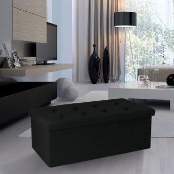 Banc Coffre Rangement Tissu Noir 100x38x38cm Pliable Accessoires