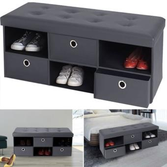 Banc Coffre 3 Tiroirs Gris 100x38x38 Cm Pvc Pliable Accessoires