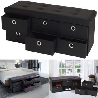 10 sur banc coffre rangement noir 6 tiroirs 100x38x38 cm - Coffre de salle de bain ...