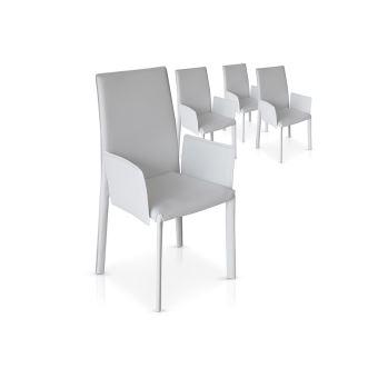 Lot De 4 Chaises Blanches Avec Accoudoirs Pu Monta