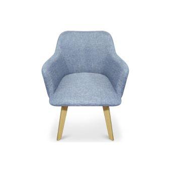 Chaise Design Style Scandinave Tissu Bleu Idris
