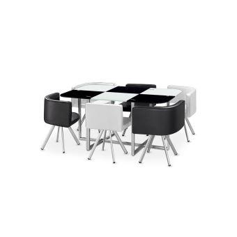 Table À Manger Verre + 6 Chaises Noir Et Blanc Corner Xl - Achat ...