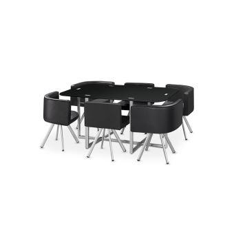 Table À Manger Verre + 6 Chaises Noir Corner Xl - Achat & prix | fnac
