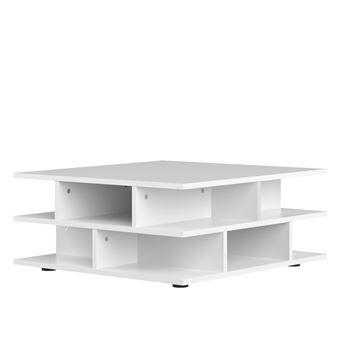 Table Basse Carree En Bois Multicases Tower Blanc