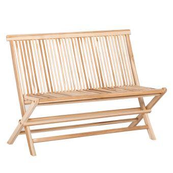Banc de Jardin pliant KAYA 100cm Teck brut - Chaise double pliante ...