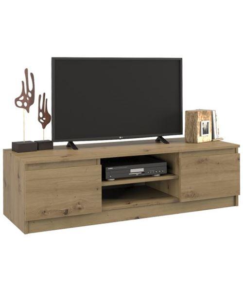 TIVOLI | Meuble bas TV contemporain 40x120x36 salon/séjour 2 niches 2 portes | Rangement moderne matériel télé/audio/video/gaming | Chêne Artisan