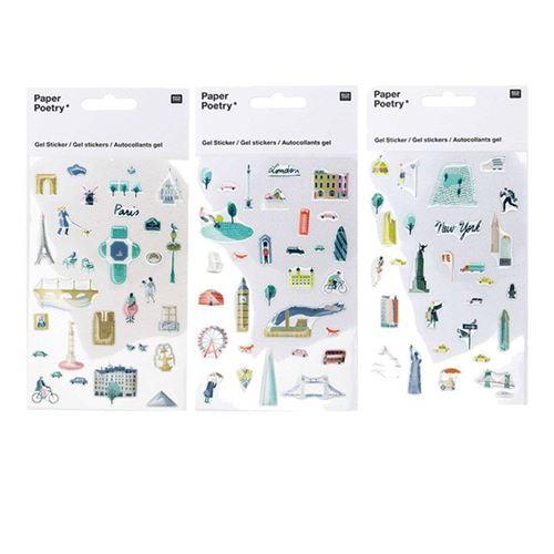 Stickers gel transparent - Paris, Londres, New-York - Rico Design
